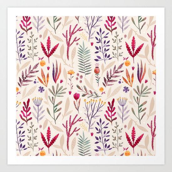 Light  Botanical Pattern Art Print