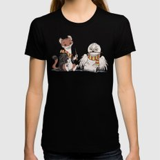 The Owl and The Weasel LARGE Womens Fitted Tee Black