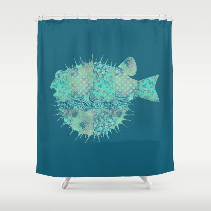 Blowfish Pufferfish Ballonfish Toadies Tropical Fish Teal Aqua Mint Blue Shower Curtain By Miaomiaodesign