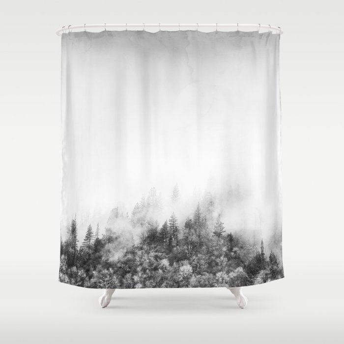 Monochromatic Landscape Shower Curtain By Cafelab