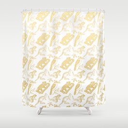 Beautiful Golden Australian Native Floral Print Shower Curtain
