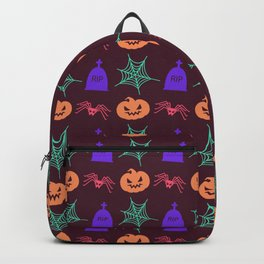 Happy halloween pumkins,web,spiders and graves pattern Backpack