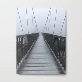 The Swinging Bridge in Fog on a Mountain Metal Print