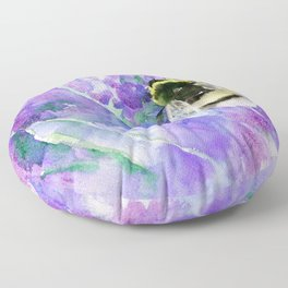 Bumblebee and Lavender Flowers Herbal Bee Honey Purple Floral design Floor Pillow