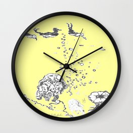 Two Tailed Duck and Jellyfish Baby Yellow Wall Clock