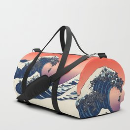 The Great Wave of Black Pug Duffle Bag