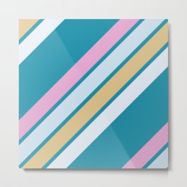 Pink White and Blue Stripes Metal Print