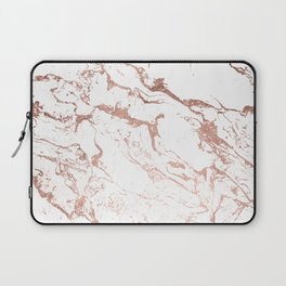Modern chic faux rose gold white marble pattern Laptop Sleeve