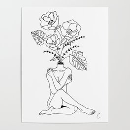 Female Form in Bloom Floral Design Poster