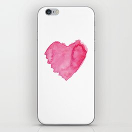 Watercolor Heart. Red pink home decor. Simple design. iPhone Skin