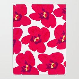 Red Retro Flowers #decor #society6 #buyart Poster