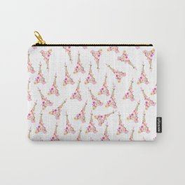 Flowers Eiffel Tower Carry-All Pouch