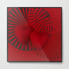 Love. The loving hearts . The red background . Metal Print