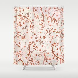 Peppermint Candy Paw Prints Shower Curtain