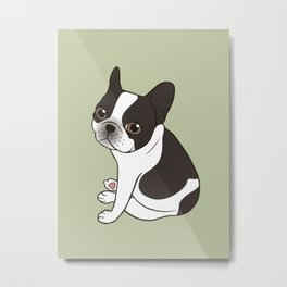 Say hello to the cute double hooded pied French Bulldog Metal Print