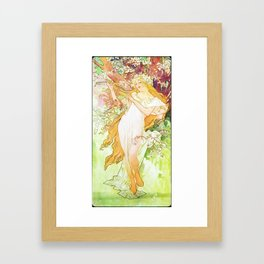 Alphonse Mucha Spring Floral Vintage Art Nouveau Framed Art Print