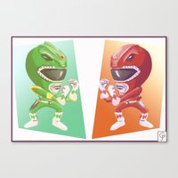 power rangers Canvas Prints featuring Mighty Fightin' Power Rangers by garciarts