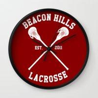 lacrosse Wall Clocks featuring Beacon Hills Lacrosse by Meg!