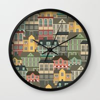 urban Wall Clocks featuring Urban by Julia Badeeva