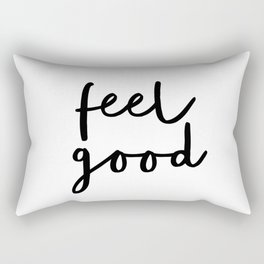 Fell Good black and white contemporary minimalism typography design home wall decor bedroom Rectangular Pillow