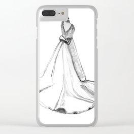 Wedding dress drawing, 1st wedding anniversary, Wedding dress sketch, paper anniversary gift Clear iPhone Case