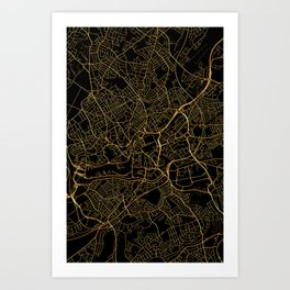 Bristol map, UK Art Print