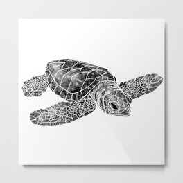 Sea Turtle Watercolor Art Metal Print