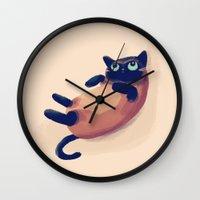 nan lawson Wall Clocks featuring Blue Eyes by Nan Lawson
