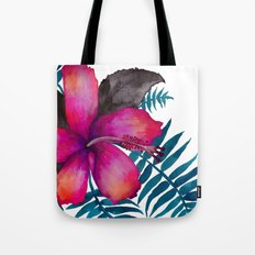 Pink Hibiscus Flower - WHITE Tote Bag