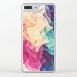 Geometry Triangle Wave Multicolor Mosaic Pattern - (HDR - Low Poly Art) - FULL Clear iPhone Case