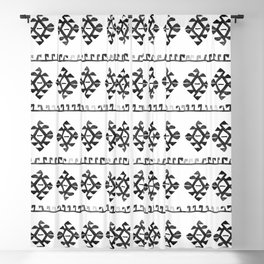 Black and White Bohemian Tribal Ethnic Kilim Pattern Blackout Curtain