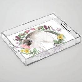 Pixie the Chocolate Siamese Cat Acrylic Tray