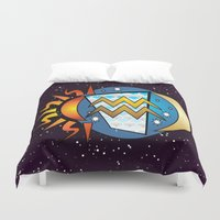 astrology Duvet Covers featuring Astrology, Aquarius by Karl-Heinz Lüpke