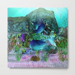 Exploration 3D Aquarium SHARKS Metal Print