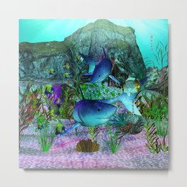 Exploration 3D Aquarium SHARKS Metal Print