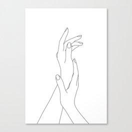 Hands line drawing illustration - Dia Leinwanddruck