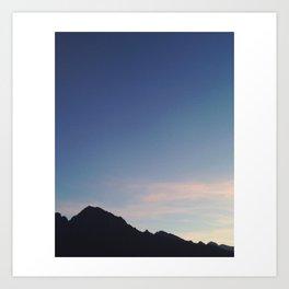 Sun Setting and a Sliver of the Moon; Ponte Di Legno  Art Print