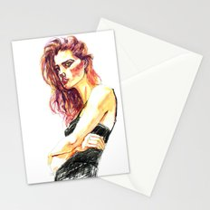 Fashion - Girl in a Black Dress Stationery Cards