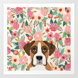 Boxer floral dog head cute pet portrait gifts for Boxers must haves Art Print
