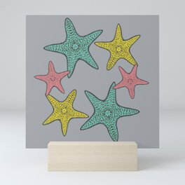 Starfish gray background Mini Art Print