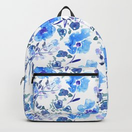 Watercolour Blue Floral Pattern Backpack