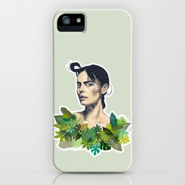 tropical beauty // the girl with the jungle leaf shirt iPhone Case