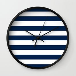 Slate Blue and White Stripes  - Navy Nautical Pattern Wall Clock