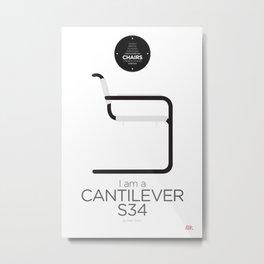 Mart Stam' S34 Cantilever Chair (minimalistic version) Metal Print