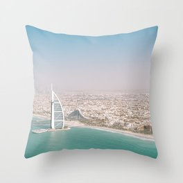 Burj Al Arab and Burj Khalifa from Dubai skies | Travel photography art print photo Throw Pillow