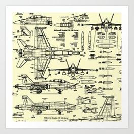 F-18 Blueprints // Parchment Art Print