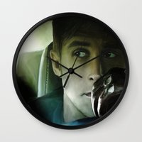 ryan gosling Wall Clocks featuring Ryan Gosling - Drive by Helena McGill