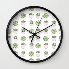 Green and pink suculents in flowerpots Wall Clock