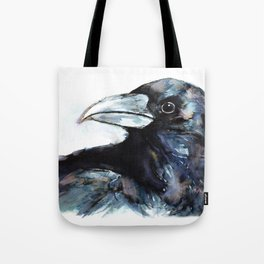 Raven, Watercolor Tote Bag