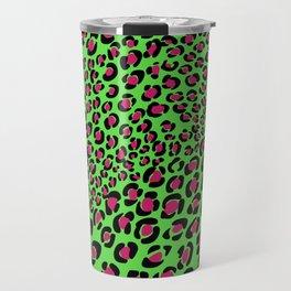 Pink Green leopard punk, pink animal print, green safari, psychobilly Travel Mug